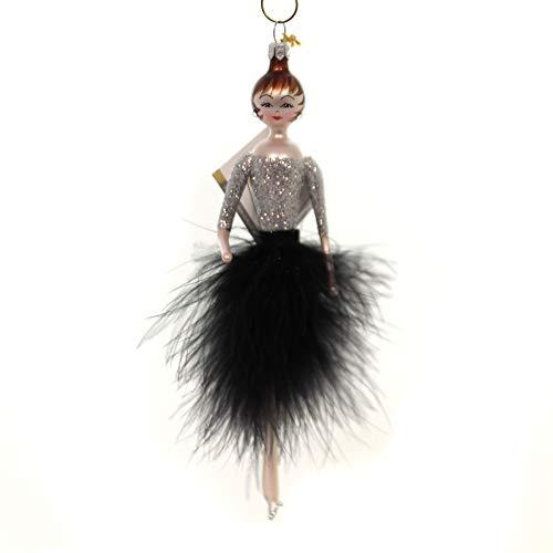De Carlini Audrey Black Feather Skirt Glass Christmas Italian Ornament Do7542m