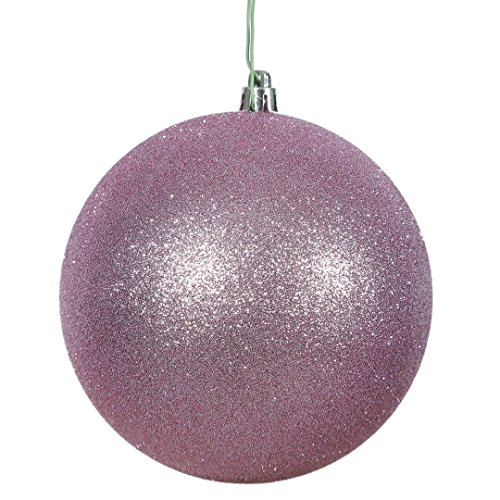 Vickerman N591509DG Glitter Ball Ornaments with Shatterproof UV Resistant, Pre-drilled cap Secured & green floral Wire in 4 per bag, 6″, Orchid Pink