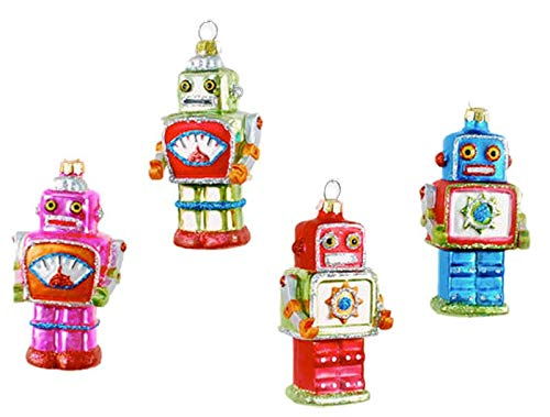 One Hundred 80 Degrees Mini Robots Hanging Ornaments Set of 4