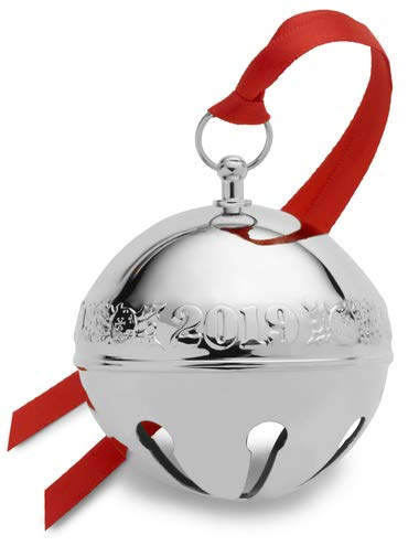 Wallace 2019 Sterling Sleigh Bell-25th Anniversary Edition (Holly & Ornaments) Holiday Ornament, Metal