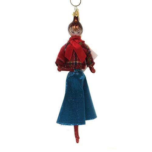 De Carlini Lady W/Plaid Jacket Teal Skirt Italian Christmas Ornament Do7640