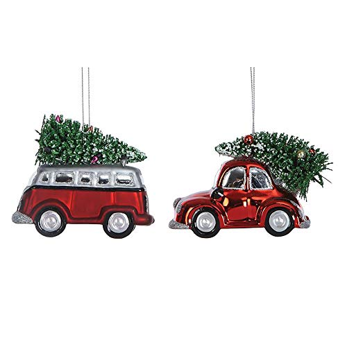 Creative Co-op Car with Bottle Brush Tree Red 3 inch Glass Christmas Ornaments Set of 2