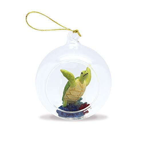 Island Heritage Hawaiian Flying Honu Turtle Hand-Painted Glass Globe Hawaii Christmas Ornament