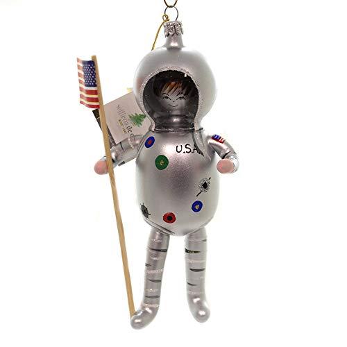 De Carlini USA Spaceman in Silver Suit Glass Christmas Italian Ornament Om4286
