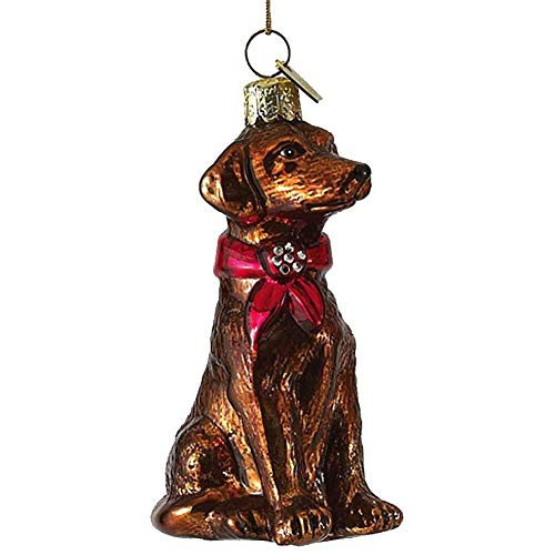 Kurt Adler Noble Gems Glass Chocolate Labrador Ornament