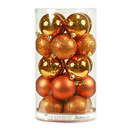 Vickerman 212882 – 1.6″ Burnished Orange Matte Shiny Glitter Sequin Ball Christmas Tree Ornament (96 pack) (N595418A)