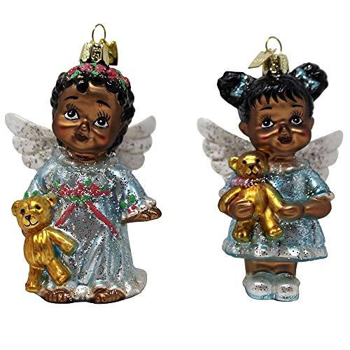 Kurt Adler Set of 2 Noble Gems 4″ African American Angel Glass Christmas Ornament NB1507