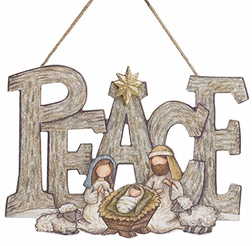 Nativity Scene Wooden Wall Hanging Christmas Sign with Star – Cutout Holiday Decoration (Peace)