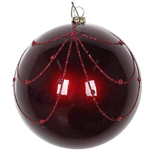 Vickerman 617793-6″ Burgundy Candy Glitter Curtain Christmas Tree Ornament (3 pack) (MT194765D)