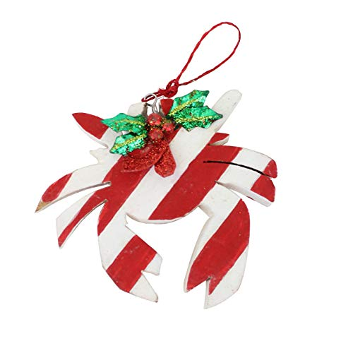 Beachcombers Wood Red and White Crab Ornament 3.5 Inches