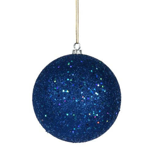 Vickerman Sequin Finish Christmas Ball Ornament Seamless Shatterproof with Drilled Cap, 10″, Blue