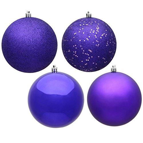 Vickerman 480922-2.4 Purple 4-Finish Assorted Ball Christmas Tree Ornament (24 pack) (N590666)
