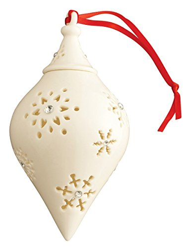 Belleek 7537 Snowflake Cone with Gems Bauble, 3.8-Inch, white