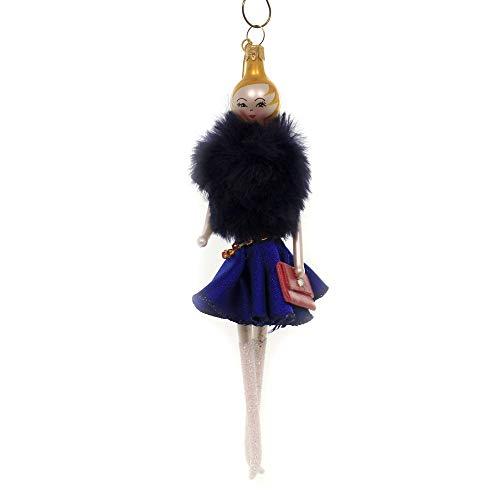 De Carlini Lady with Blue Fur Jacket Glass Italian Christmas Ornament Do7648