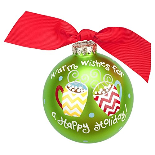 Coton Colors Warm Wishes For A Happy Holiday Hot Cocoa Glass Ornament
