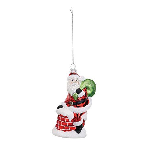 DEMDACO Santa Going Down Chimney 3 x 5 Inch Glass Hanging Christmas Tree Ornament