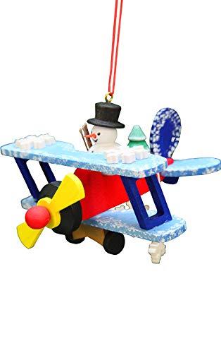 Alexander Taron 10-0632 Christian Ulbricht Ornament – Snowman on Biplane – 4″ H x 3.75″ W x 2.75″ D White