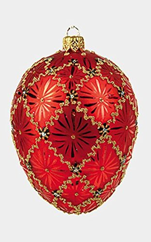 Pinnacle Peak Trading Company Red Coronation Egg Faberge Inspired Polish Mouth Blown Glass Holiday Ornament