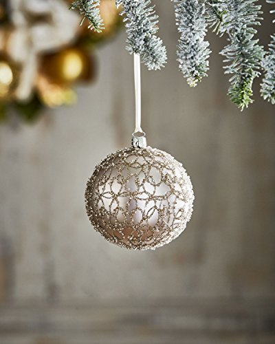 Neiman Marcus by Jim Marvin Gold & Glitter Golden Swirl Ball Ornament