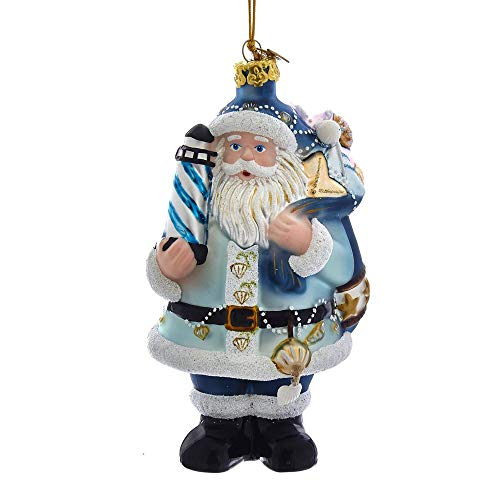 Kurt Adler Noble Gems Nautical Santa Glass Hanging Ornament, 5 inches Tall