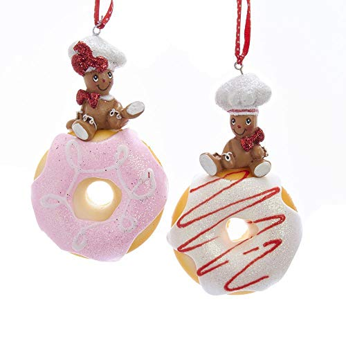 Kurt Adler Gingerbread Children Donuts Pink 4 inch Resin Stone Christmas Ornaments Set of 2