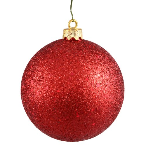 Vickerman Sequin Finish Seamless Shatterproof Christmas Ball Ornament with Drilled Cap, 6 per Bag, 4″, Red