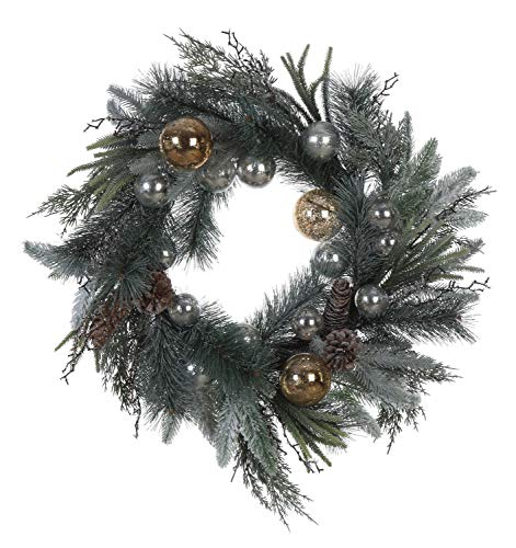 Creative Co-op Faux Green Pine Pinecones and Silver & Gold Ornaments Wreath