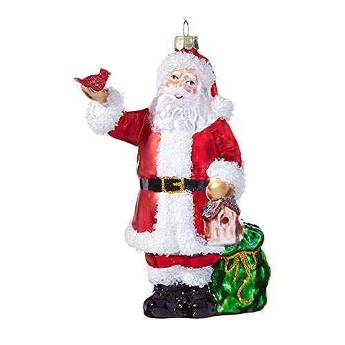 Festive Red Fluffy White Santa Cardinal 5.5 inch Glass Decorative Christmas Ornament