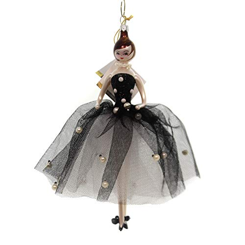 De Carlini Lady W/Black Dress and Pearls Italian Christmas Ornament Do7645