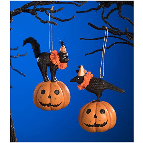 Bethany Lowe Set/2 Pumpkin Jack Black Cat Raven Vintage Style Halloween Tree Ornaments