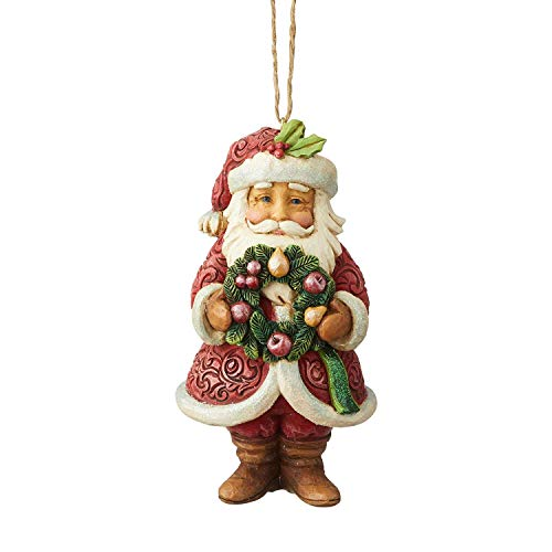 Enesco Jim Shore 6004193, Wonderland Santa with Wreath Hanging Ornament, Resin, 5 Inches, Multicolor