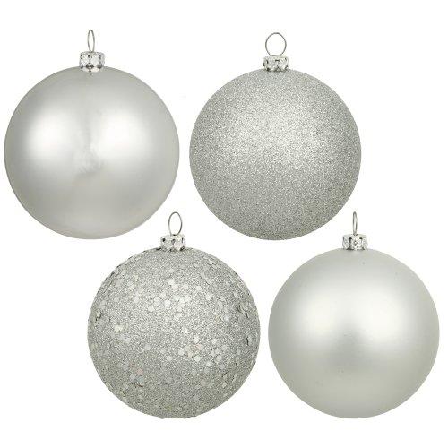 Vickerman Shatterproof Splendor 4 Finish Ornament Assortment 3, 3″, Silver