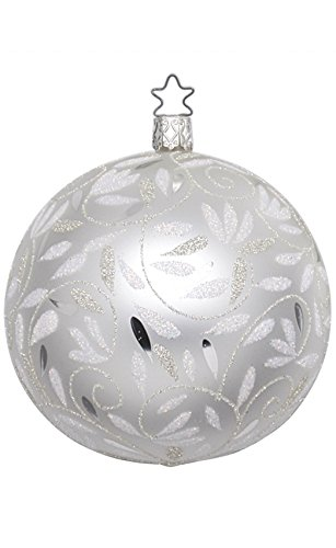 Inge-Glas Kugel Ball 10 cm Delights White 20158T010 German Christmas Ornament