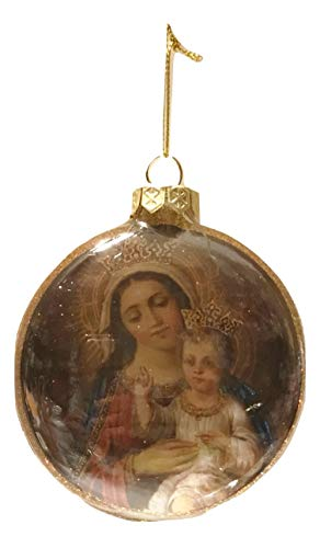 One Hundred Eighty Degrees Madonna & Child in Gold Crown Glass Medallion Holiday Ornament, 3″