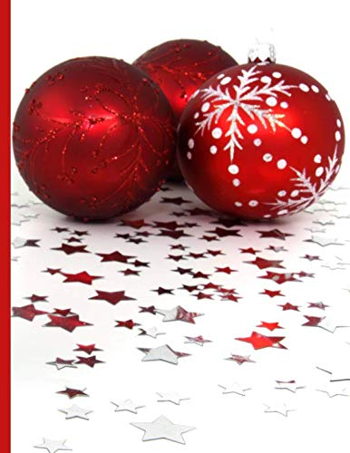 Shopping Notebook ~ Three Red Christmas Ornaments Surrounded by Stars