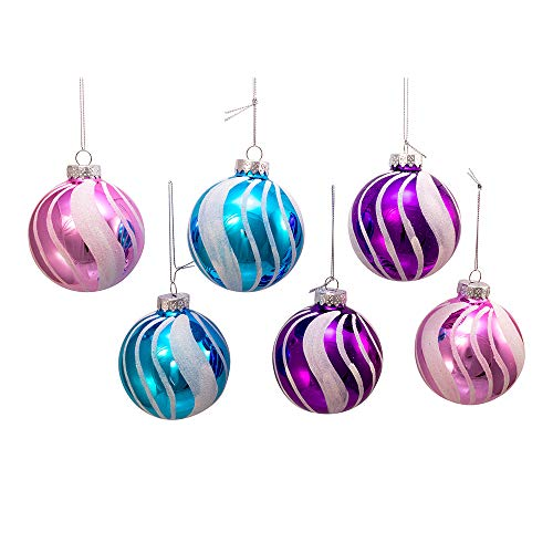 Kurt Adler Kurt S. Adler 80MM Purple, Blue and Pink with Swirl Glass Ball, 6 Piece Box Ornament, White