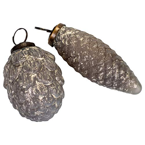 First of a Kind 4″ Round 4″ H & 3″ Round X 3″ H Glass Pinecone Ornament, Antique Silver Finish, 2 Styles, Set of 2