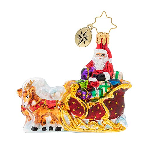 Christopher Radko Stellar Ride, Santa! Gem Christmas Ornament