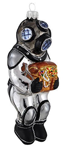 Pinnacle Peak Trading Company Ocean Deep Sea Diver with Treasure Chest Polish Glass Christmas Tree Ornament