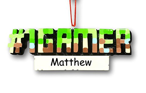 Personalized Favorite #1 Gamer Video Game or PC Game Hobby Lover Hanging Christmas Ornament with Custom Name or Gamer Tag