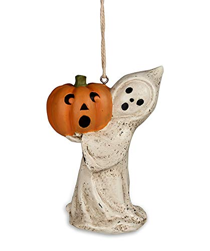 Bethany Lowe Halloween Little Ghost with Jack O Lantern Resin 4in Ornament