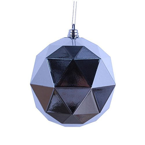 Vickerman 468036 – 6″ Silver Shiny Geometric Ball Christmas Tree Ornament (4 pack) (M177407DS)