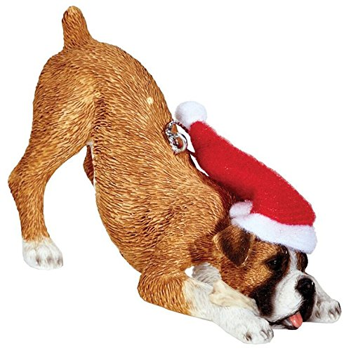 Sandicast Fawn Boxer with Santa Hat Christmas Ornament