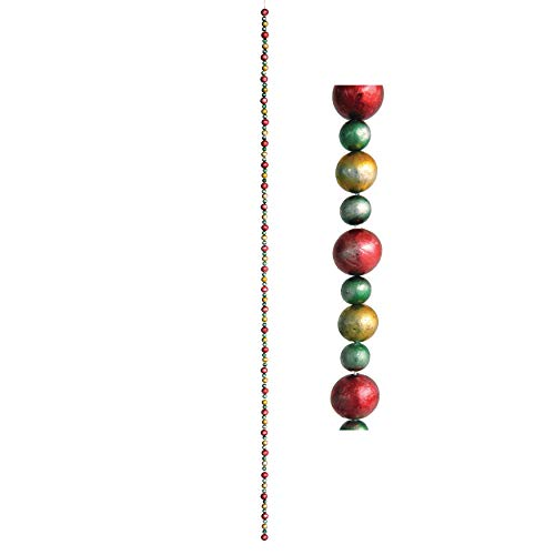 Creative Co-Op 72 Inch Foam Small Bead Garland with Antique Finish, Multi Color