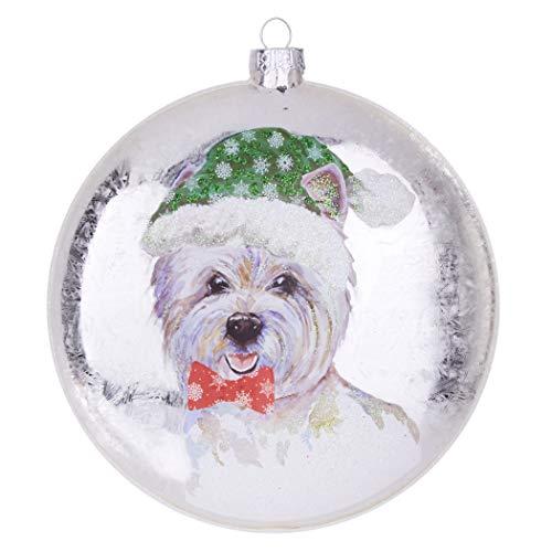 RAZ Imports Glass Disc Christmas Ornament – West Highland Terrier aka Westie – 5 inch Diameter x 1.5 inch