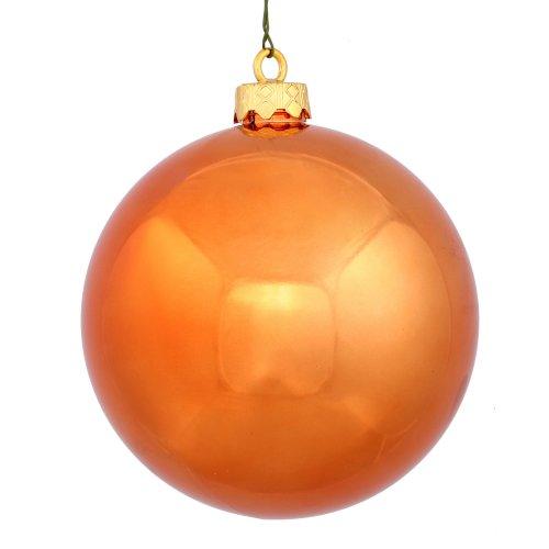 Vickerman Shiny Finish Seamless Shatterproof Christmas Ball Ornament, UV Resistant with Drilled Cap, 12 per Bag, 3″, Burnish Orange