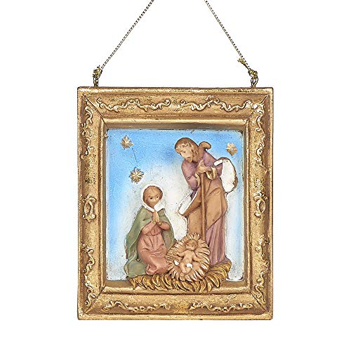 Fontanini, Holy Family Frame Ornament, 3.75″ H, Resin