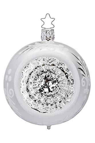 Inge-Glas Reflectorball, Silver Reflections, Silver Shiny, 6cm 20191R006 German Blown Glass Christmas Ornament