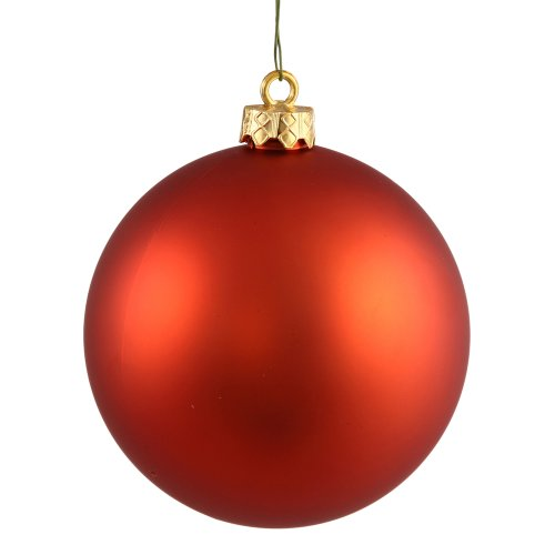 Vickerman Matte Finish Seamless Shatterproof Christmas Ball Ornament, UV Resistant with Drilled Cap, 24 per Bag, 2.4″, Burnish Orange