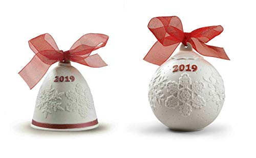 Lladro 2019 Christmas Bell & Ball Set in Red #18448 & #18445
